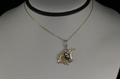 14K Two Tone Gold Diamond Unicorn Necklace