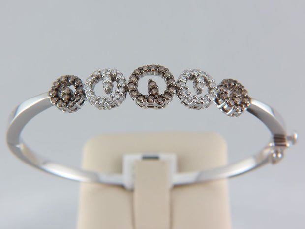 14K White Gold Diamond and Chocolate Diamond Bangle