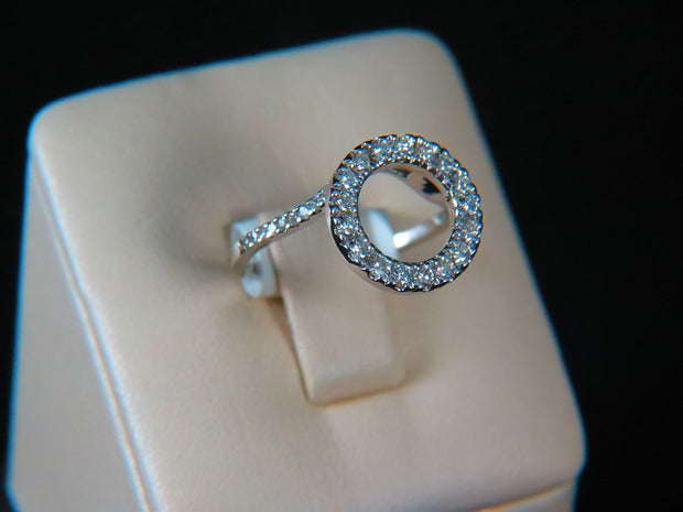 14K White Gold Halo Diamond Insert Ring