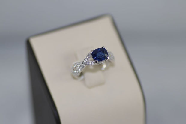 Sapphire Center Stone Ring with Diamonds