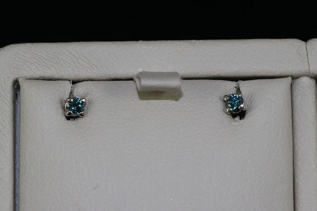 14K White Gold Blue Diamonds Studs