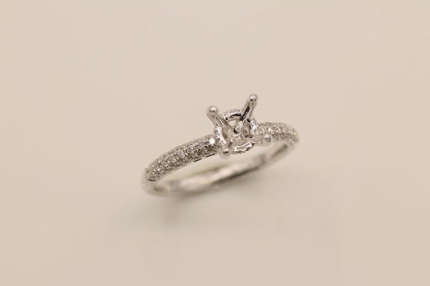 14K White Gold Engagement Ring Semi-Mount