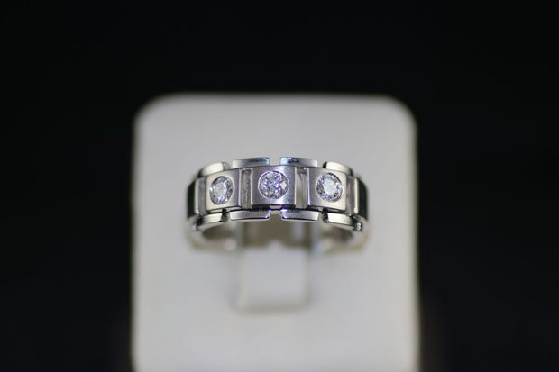 14K White Gold Men's Diamond Ring