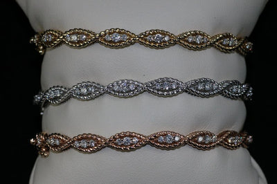 14K White Gold Diamond Braided Bangle