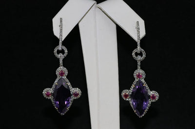 14K White Gold Amethyst and Ruby Earrings