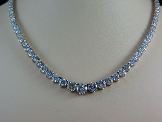 Ladies 14K White Gold Diamond Riviera Necklace