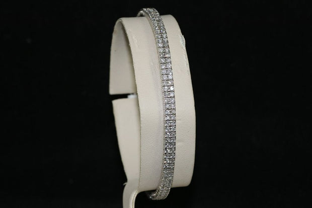 14K White Gold Diamond Two Row Bangle