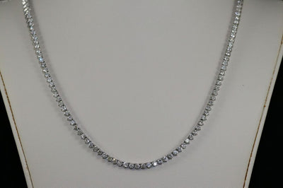14K White Gold Diamond Riviera Necklace