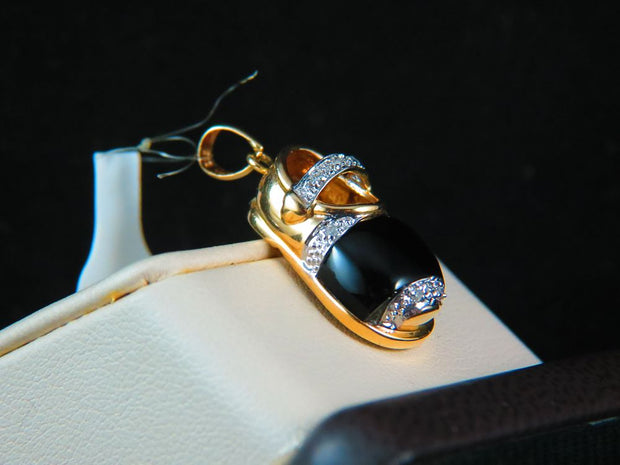 14K Yellow Gold Onyx and Diamond Baby Shoe Pendant