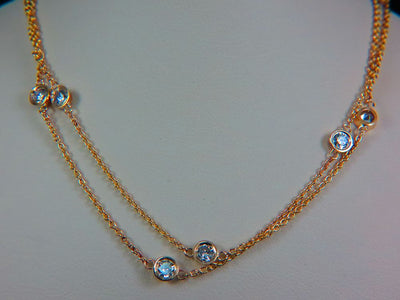 14K Yellow Gold Ladies Diamond by the Yard Necklace