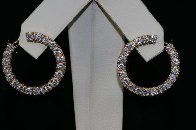 14K Yellow Gold Diamond Eternity Earrings
