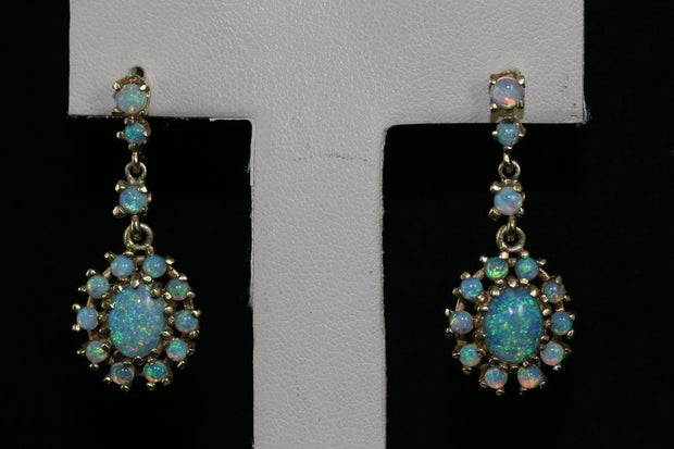 14K Yellow Gold Opal Dangle Earrings