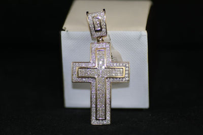 Men's 14K Yellow Gold Diamond Cross