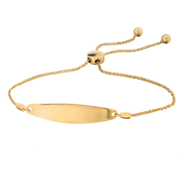 14K Gold Engravable Long Bolo Bracelet