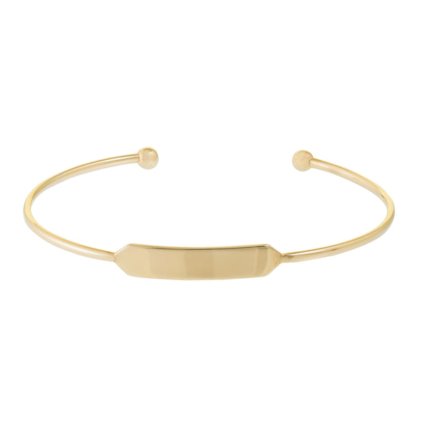 14K Gold Engravable Open Cuff Bangle