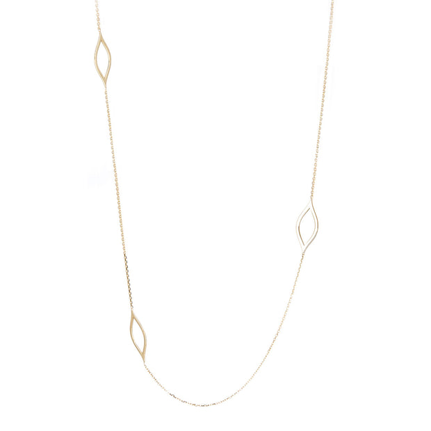 14K Gold Long 7-MarQ Stations Necklace
