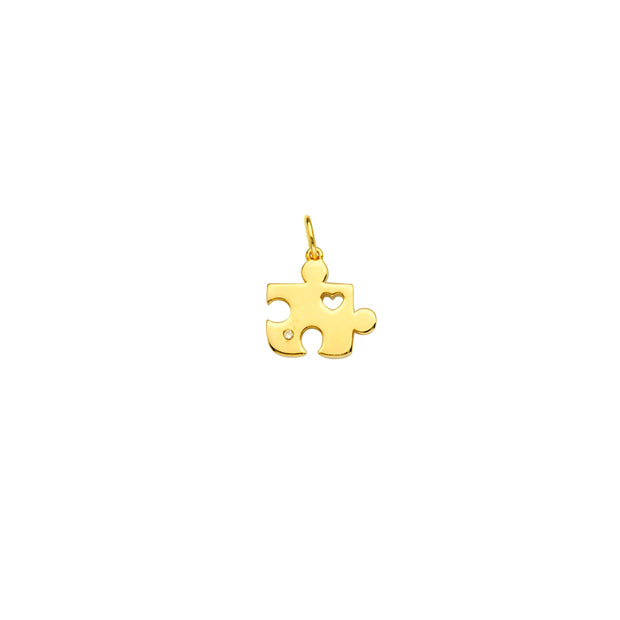 14K Gold 1-PT Diamond Mini Puzzle Pendant