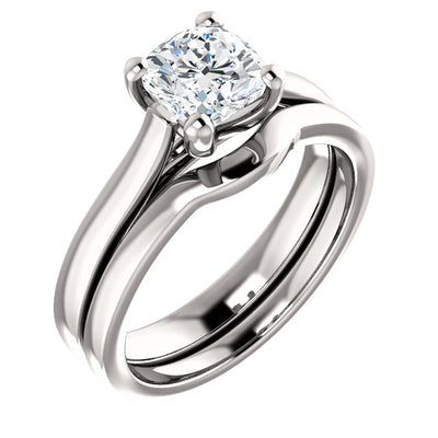 14K White Gold Cushion Engagement Ring Mounting