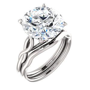 14K White Gold Round Solitaire Engagement Ring Mounting