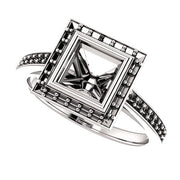 14K White Gold Square Bezel-Set Halo-Style Engagement Ring Mounting