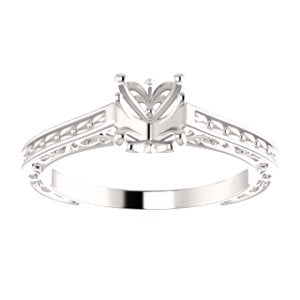 14K White Round Solitaire Engagement Ring Mounting