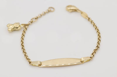 14K Yellow Gold Baby ID Bracelet