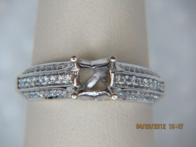 14K White Gold 3 Row Engagement Ring Mounting
