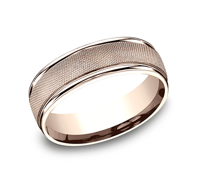 7mm Rose Gold Florentine Finish Center Sculpted Men's Wedding Ring