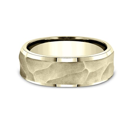8mm Yellow Gold Wrinkled Papyrus Finish Sculpted Men's Wedding Ring