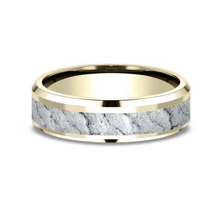 6mm Yellow Gold Lava Rock Texture Sculpted Men's Wedding Ring