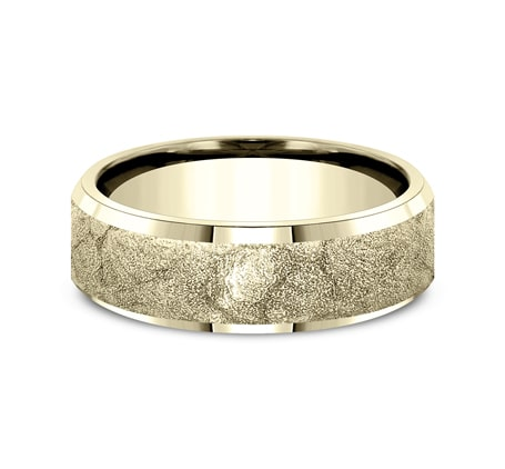 7mm Yellow Gold Plastered Texture Sculpted Men's Wedding Ring