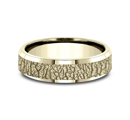 6mm Yellow Gold Dogwood Inspired Sculpted Men's Wedding Ring