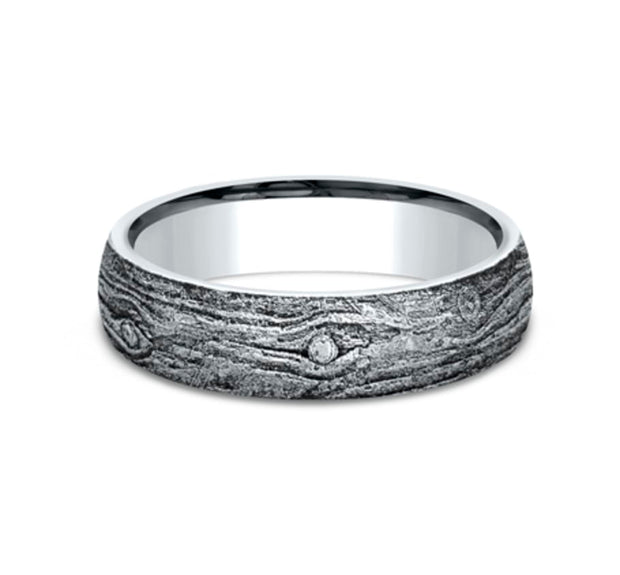 Sculpted White Gold 6mm Wood Motif Ring