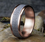 8mm Rose Gold Textured Center Sculpted Men's Wedding Ring