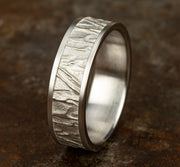 7mm White Gold Fabric Flow Sculpted Men's Wedding Ring