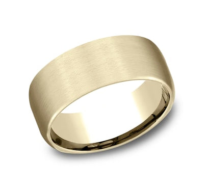 9mm Yellow Gold Satin Finish Sculpted Men's Wedding Ring