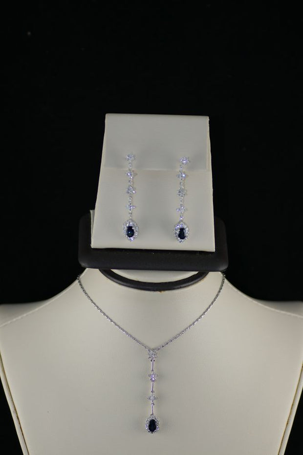 18K White Gold Sapphire Earrings and Pendant