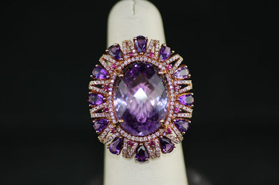 Amethyst Center Stone Ring with Diamonds and Amethysts