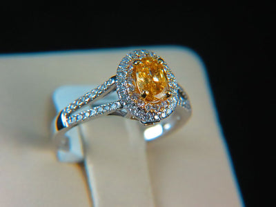 18K Gold Fancy Brownish Orangy Yellow Diamond Engagement Ring