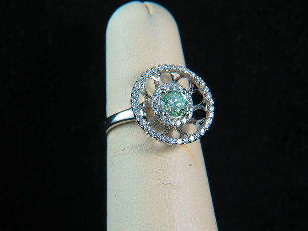 18K White Gold Light Yellow-Green Diamond Center Stone Ring