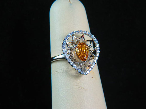 18K White Gold Fancy Deep Brownish-Orangy-Yellow Diamond Center Stone Ring