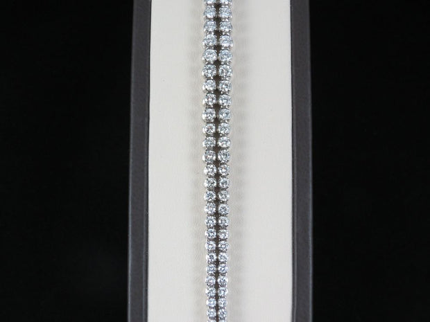 18K White Gold 2 Row Diamond Bracelet