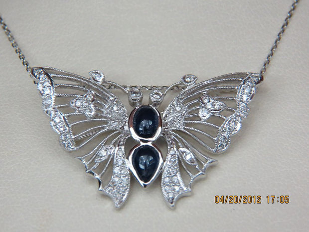 Diamond and Sapphire Butterfly Pendant
