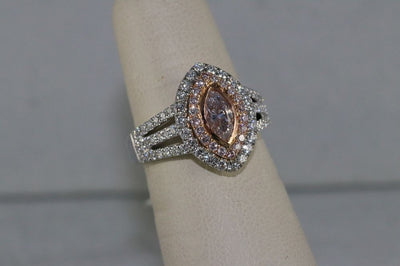 18K White/Rose Gold Light Pink Diamond Center Stone Ring