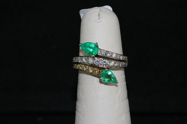 18K White/Yellow Emerald and Diamond Ring