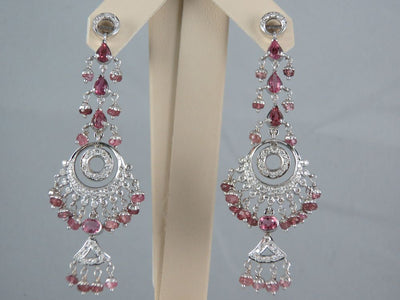 18K White Gold Diamond and Pink Sapphire Chandelier Earrings