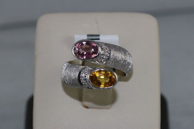18K White Gold Pink Sapphire and Yellow Diamond Ring