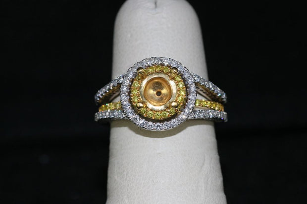 18K White and 22K Yellow Gold Fancy Yellow Diamond Engagement Ring