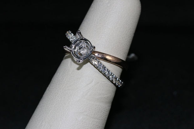 18K White and Rose Gold Diamond Engagement Ring Semi-Mount