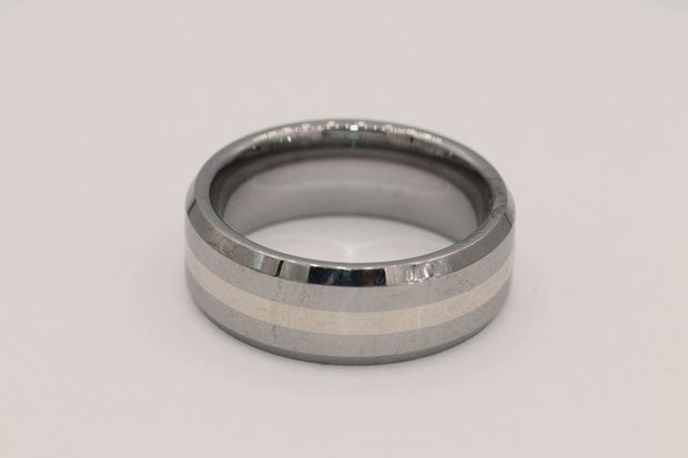 18K White Gold/ Tungsten 8MM Band